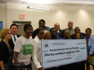Larimer neighbors celebrate a $30 million grant. Photo courtesy of wesa.fm
